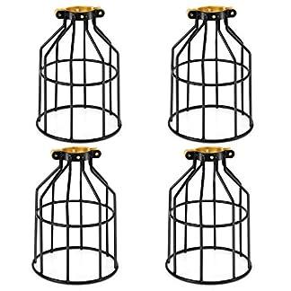 4 Pezzi Vintage Industriale Gabbia in acciaio per Lampada Paralume decorativo per Bar, Ristorante, Studio,Camera da letto