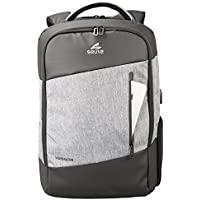 Seute Grey and Black Laptop Backpack with USB Port and Multipurpose Pocket