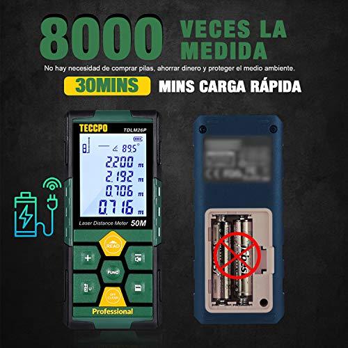 Telémetro láser 50m, USB 30mins Carga rápida, TECCPO Medidor Láser, Electrónico Ángulo Sensores, 99 Datos, 2.25 LCD Retroiluminación, Medición de distancia, Área, Volumen, Trípode, IP54, TDLM26P