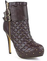 SONGYUNYANCuero del acoplamiento de Europa con hebilla de metal remaches moda club nocturno de las mujeres botas/botines , brown , 44