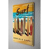 Nostalgico Cartello Targa In Metallo Piatto Di Parete Tavole da surf surf Hawaii spiaggia Della Parete Piastra Insegna Metallica 20X30 cm