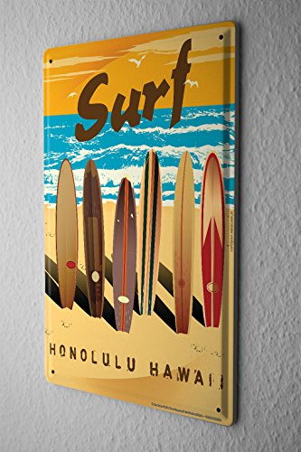 Cartel-de-chapa-Placa-metal-tin-sign-Nostlgico-Placa-De-Pared-Tablas-de-surf-playa-de-surf-de-Hawaii-Metal-Letrero-De-Pared-20X30-cm