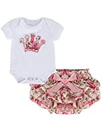 puseky recién nacido bebé niñas princesa Corona Pelele + falda trajes ropa