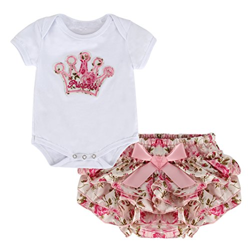 Puseky Newborn Baby Girls Princess Crown Rompers+Divided Skirt Outfits Clothes (S(0~6 months))
