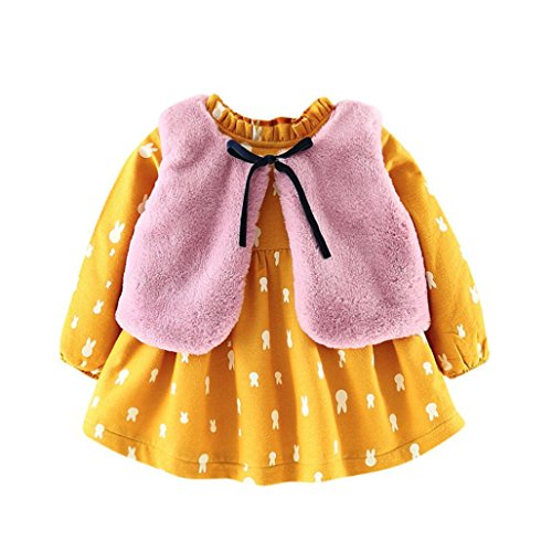 SHOBDW Girls Outfits, Newborn Baby Rabbit Cartoon Princess Thick Dress + Waistcoat Autumn Winter Warm Clothes Gifts Set 51LvXFmyOfL