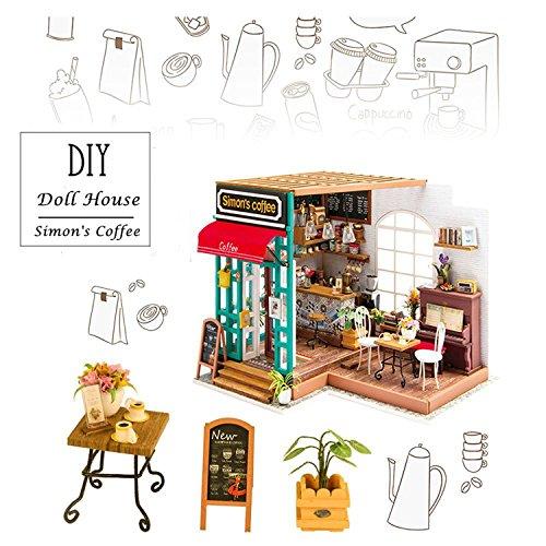 Möbel Simmons (ROLIFE 3D Holz Puppenhaus mit Licht Miniatur Kaffee Haus DIY Modell Kit-Tops Spielzeug für Kinder 14 15 16 17 Jahre alt up-beste Geschenke für Erwachsene(Simmon's Coffee))