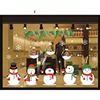 MIMOO Diseño Divertido Navidad Pegatinas de la Ventana Copo de Nieve Disney Navidad Etiqueta de la Pared de Navidad Elk Pegatinas estáticas para Navidad Año Tatuajes ( Color : I )