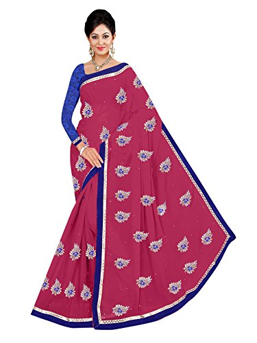 Winza Women's Georgette Saree With Blouse (Rani Pink)  available at amazon for Rs.599