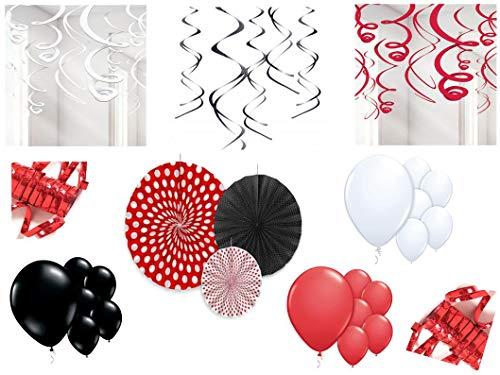 PS Party Deko Set rot schwarz weiß 52 teilig Geburtstag hängende Raum Deko Wirbel Rosetten Luftballon Rot Rosette