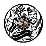 hysxm Horloge De Coupe De Cheveux Noir Vivant De Disque De Vinyle D'Enregistrement À La Maison De 3D De Salon De Coiffure De Coiffeur Accrochant des Montres