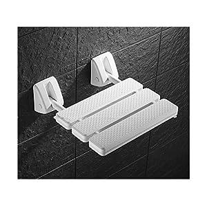 MLMYSFS Badezimmer-Klapphocker, Weißer Faltender Wandhocker Ältere Schwangere Frauen Badezimmerbad-Schemel Duschstuhl Badezimmer Sicherheitsgriff Sitzbanksitz
