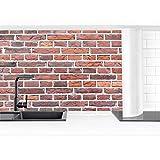 Bilderwelten Küchenrückwand Folie selbstkleb. Backstein Tapete Amsterdam rot 100x400cm Smart
