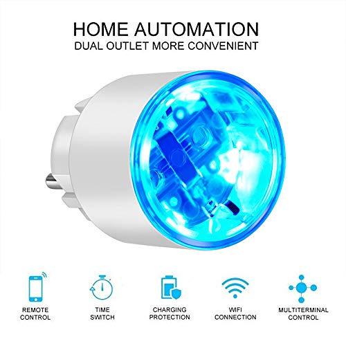 HUIGE WiFi Smart Plug Socket Kompatibel mit Alexa, Echo, Mini Smart Outlet mit Energy Monitoring, App Remote Control und Timer Funktion, No Hub Required,3BACK -