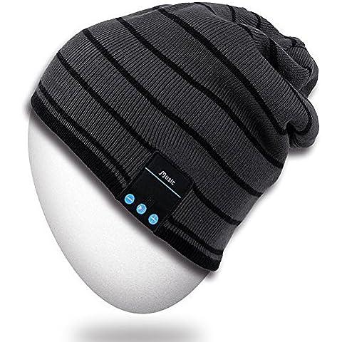 Bluetooth Sombrero, Mydeal unisex adulta de moda caliente suave de punto Beanie Slouchy Skully Sombrero con auricular de la radio del receptor de cabeza del Mic del altavoz manos libres, regalo de Navidad para el invierno deporte al aire libre del esquí de la snowboard -