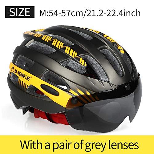 DKMMDWSSD Fahrradhelm MTB Fahrradbrillen Helm Profi Mountain Racing Helm Herren und Damen Fahrradhelm, M orange 1 Linse