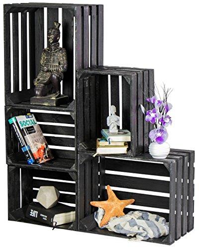 LAUBLUST 5er Set Vintage Holzkisten - Kisten in 2 Größen, 50x40x30cm / 40x30x25cm, Schwarz...
