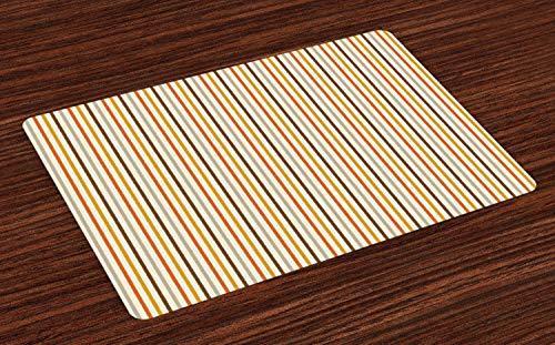 ABAKUHAUS Jahrgang Platzmatten, Retro 60er Jahre 70er Jahre Mode Streifen vertikale Muster Vintage, Tiscjdeco aus Farbfesten Stoff für das Esszimmer und Küch, Senf Orange Creme ()
