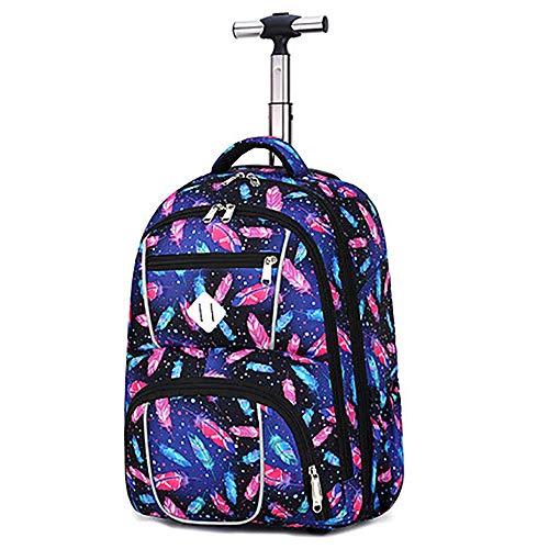 SYDFJ Kinder Trolley Rucksack Reise-Laptop Rollende Büchertaschen 18 Zoll Schultasche für Jungs und Mädchen,A -