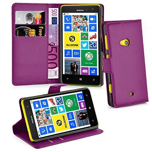 Cadorabo Hülle für Nokia Lumia 625 Hülle in Mangan Violett Handyhülle mit Kartenfach und Standfunktion Case Cover Schutzhülle Etui Tasche Book Klapp Style Mangan-Violett
