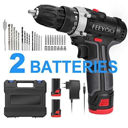 Taladro Atornillador, FEEYOO 12.8V Kit de Taladro inalámbrico, 2 * 3900mAh Batería de Litio,Maxima Torsión 26N.m, Luz LED, 1h Carga Rápida, 31 Accesorios (black)