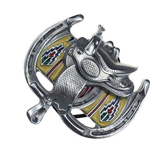 Homyl Hebilla Cinturón de Metal Pesado Herradura de Silla Montar Caballo de Vaquero Occidental Grande para Hombre - Plata, 10.5 x 8cm