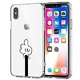 AIsoar  Coque Iphone X/iPhone XS (5.8) Case, Transparente Silicone Antichoc Ultra Mince Housse TPU de Protection arrière Résistant aux Rayures Cactus Couverture (Ériger Le Majeur)