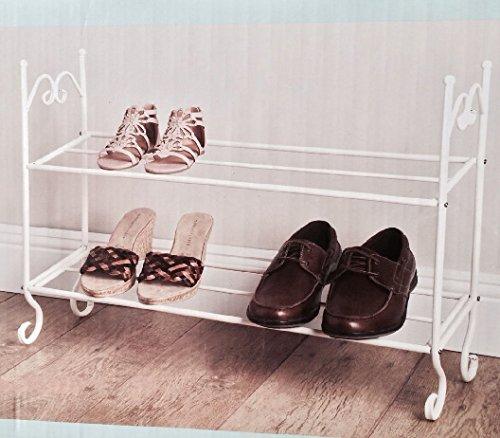 Vintage-Stil creme 2Ebenen Metall Schuhregal Aufbewahrung -665–Beste Schuhe Selbst, Organizer (Black Womens Bamboo)