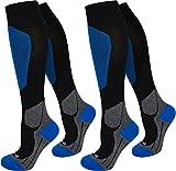 2 Paar Kompressionsstrümpfe für Damen und Herren - Reisekniestrumpf mit Stützfunktion - Spitze handgekettelt Farbe Sport/Blau Größe 35/38