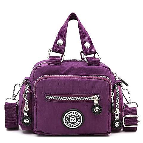 Women Messenger Bag, Rcool Classic Waterproof Nylon Handbag Shoulder Diagonal Bag Messenger Bag Cross Body Bag (Purple)