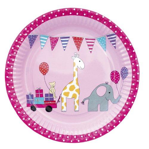 Pappteller Papierteller Kinderparty pink 8 Stück im Set