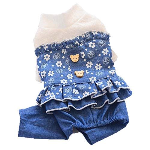 Floral Jeans Rock, Dog Denim Kleidung, Vierbeinige Pet Princess Floral Q Rock, Elegant und Elegant, Geeignet für mittlere und große Hunde (Size : L) -