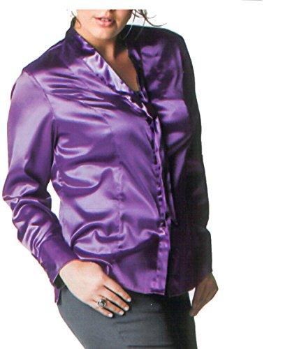adonia mode Extravagante Satin Stretch-Bluse m. Schluppe , Gr.42 - 44 Lila