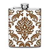 travel flask Brown & White Damask Pattern Fashion Portable 304 Stainless Steel Leak-Proof Alcohol Whiskey Liquor Wine 7OZ Pot Hip Flask Travel Camping Flagon For Man Woman Flask Great Little Gift