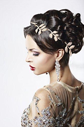 Elastisches Haarband Haarschmuck Haarkette Stirnband Stirnschmuck Haar Kopfschmuck in Gold (Griechische Göttin Kostüm Frisuren)