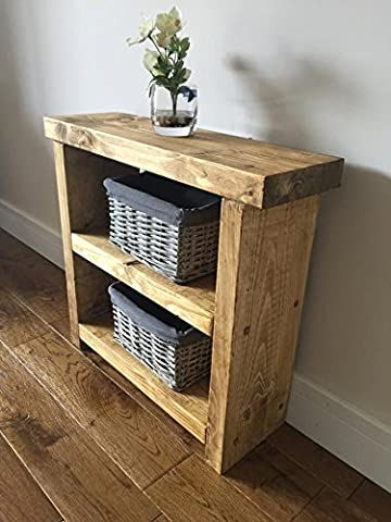 Solid Rustic Handmade Pine side / lamp / end table, finished in a Chunky Country Oak effect (mk2) (Medium Oak, 50cm High)