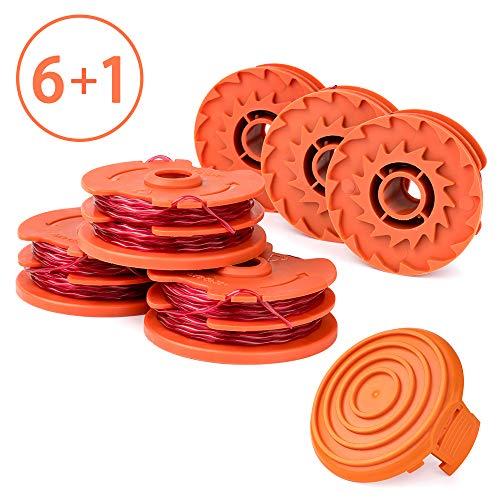 X Home Unkrautfresserspulen kompatibel mit Worx WA0007 WG105 WG106 WG108 Unkrautwacker-Spule mit 50019417 Spulenabdeckung, Fadenschneidemaschine, 2 x 4,3 m, 6 Ersatzspulen, 1 Kappe (Home Worx)