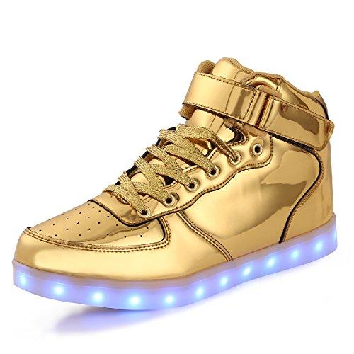 (FLARUT 7 Farbe USB Aufladen LED Leuchtend Leuchtschuhe Blinkschuhe Sport Schuhe für Jungen Mädchen Kinder(31 EU,Gold))