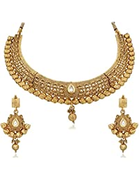 Apara Gold Plated Antique Kundan Necklace Set For Women