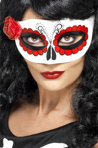 Smiffys Damen Augenmaske Mexikanischer Tag der Toten, One Size, Weiß und Rot, 27854 (Italienische Halloween Kostüm)