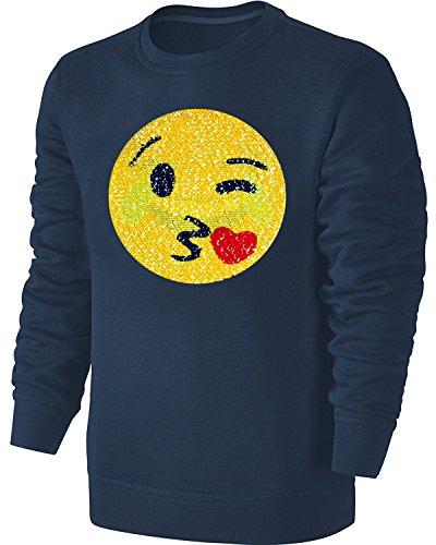 emoji sweatshirt Kinder Wende Pailletten Sweatshirt Emoji Streichel Pullover Blau Size 128