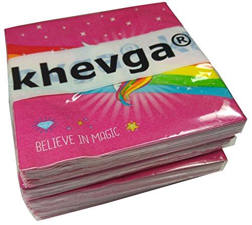 Khevga-Serviettes-Licorne-33-x-33-cm-dcoration-de-table-pour-anniversaire-denfant-4-x-20-Set
