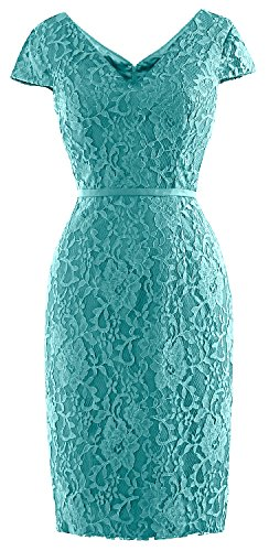 MACloth Women Vintage Short Lace Cap Sleeve Mother of Bride Dress Wedding Party Turquoise