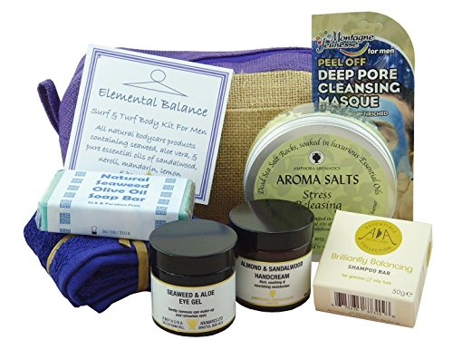 Surf N Turf - All Natural Bath & Body Kit. A Premium Selection of Male Skincare Products Combining The Nourishing Freshness Of Natural Sea Minerals With Wholesome Botanicals From Earth's Larder. Christmas Gift / Father's Day / Birthday Pamper Hamper For Him!