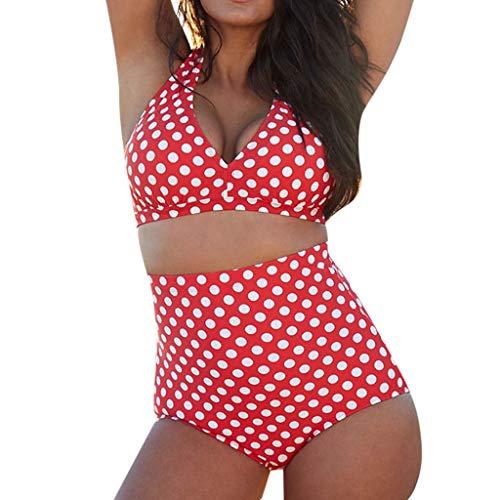 SHE.White Damen Dots Druck Badeanzug Split Bademode Sexy Bikini Set Push Up Schwimmanzug Figurformend Swimwear Ouvert Badeanzug Sommer Strandhose Fitness Bodysuit L-3XL -