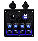 DCFlat 4 Gang/6 Gang/8 Gang Circuit LED Car Marine Boat Rocker Switch Panel Dual USB Waterproof Power Socket Breaker Voltmeter Overload Protection (4 Gang) (6Gang) (10Gang) (4Gang)
