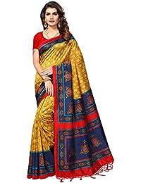 Art Décor Sarees Women's Mysore Silk Golden Blue Color Printed Saree With Blouse