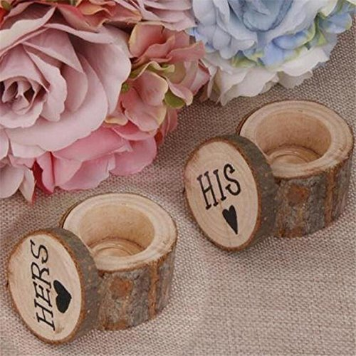 Wooden Ring Box Wedding Ring Box HIS HERS By LinTimes Country Style HIS HERS Pattern Rustic Ring Box for Wedding Ceremony