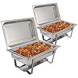 FDS 2 x Chafing Dish Speisewärmer Warmhaltebehälter Wärmebehälter Warmhaltegerät Edelstahl mit Brennpastenbehältern