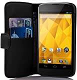 Cadorabo - Book Style Wallet Design for LG Google NEXUS 4 with 2 Card Slots and Stand Function - Etui Case Cover Protection Pouch in OXID-BLACK