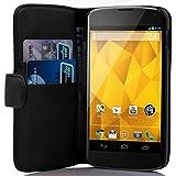 Google Nexus 4 case , CADORABO Nexus 4 Case Wallet [BLACK] Premium PU leather Wallet Case Flip Cover for Nexus 4- BLACK [Lifetime Warranty]